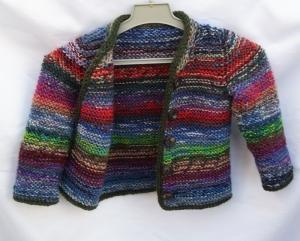 Baby Strickjacke handgestrickt bunt Gr.74/80 Wolle Unikat Upcycling - Handarbeit kaufen