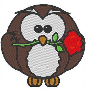 Stickdatei Eule mit Rose im Schnabel zum Valentinstag 128 x 125 mm
