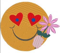 Stickdatei Smiley mit Blume zum Valentinstag 128 x 107 mm