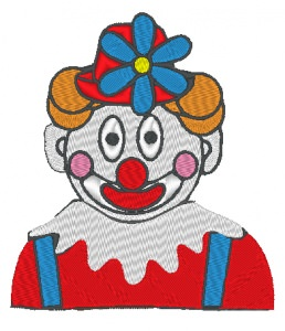 Stickdatei Clown mit Blume am Hut zu Karneval 112 x 127 mm