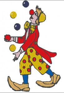 Stickdatei Clown als Jongleur zu Karneval 109 x 170 mm