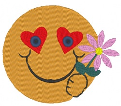 Stickdatei Smiley mit Blume zum Valentinstag 90 x 70 mm
