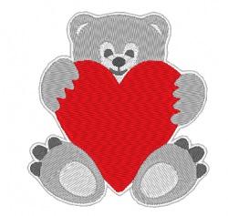 Stickdatei Bär mit Herz zum Valentinstag  70 x 90 mm