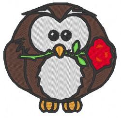 Stickdatei Eule mit Rose im Schnabel zum Valentinstag 70 x 70 mm