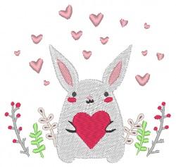 Stickdatei Hase mit Herzchen zum Valentinstag 92 x 89 mm