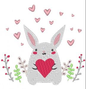 Stickdatei Hase mit Herzchen zum Valentinstag 126 x 120 mm
