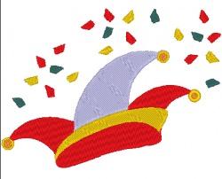 Stickdatei Hut mit Konfetti zu Karneval 128 x 93 mm