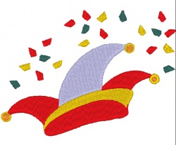 Stickdatei Hut mit Konfetti zu Karneval 99 x 72 mm