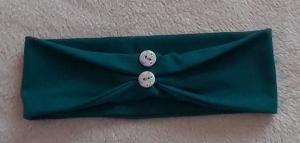 Schlichtes schönes Haarband/Stirnband für Frauen in Petrol, Jersey, gerafft mit Knöpfen mit viel Liebe genäht