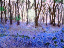 Blauer Traum im Wald, 30x40cm