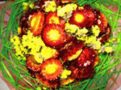 Blumenstrauß in grün, gelb und orange, 16cm