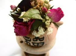 China Teelichthalter mit kleinem Sträoßchen, 13cm