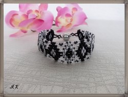 Armband CARLA schwarz-silber-kristall