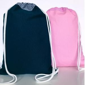 Sportbeutel Turnbeutel zum Weiterverarbeiten z.B. Benähen und Besticken dunkelblau  - Handarbeit kaufen