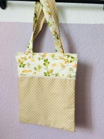 Pünktchen und Vögelchen - Baumwolltasche in beige-orange - Handarbeit kaufen