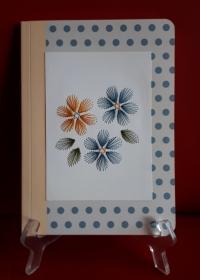 Notizbuch DIN A5 mit Fadengrafik aus Seidengarn - Handarbeit kaufen