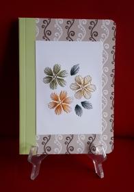 Notizbuch DIN A5 mit Fadengrafik aus Seiden- und Metallicgarn - Handarbeit kaufen