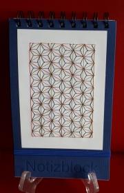 Spiral - Notizblock mit Fadengrafik aus Seiden - und Metallicgarn - Handarbeit kaufen