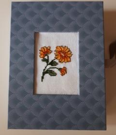 Passepartout - Box mit Klappdeckel und handgesticktem Kreuzstich - Motiv - Handarbeit kaufen