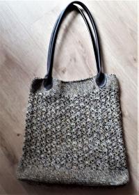Häkeltasche mit Griffen aus Kunstleder  - Handarbeit kaufen