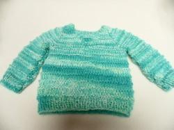 Pullover 56-62 Für Babys oder Puppen Hier kannst du einen liebevoll gestrickten Babypullover erwerben. Die Wolle ist im Farbverlauf in hellen Farben weiß, blau, hell- und dunkelbla