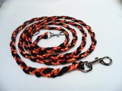 Handgeflochtene Hundeleine aus Paracord 215 cm lang, 1 cm breit