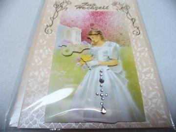 Eine anspruchsvolle 3D Karte zur Hochzeit. Eine Brautkarte dekoriert mit  Acrylsteinchen und Sticker.  Bis 6 Karten Portogebühren 1,45€