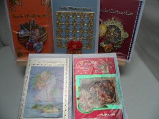 5+1 Kartenset.  5 Weihnachtskarten mit schönen unterschiedlichen 3D Motiven. Bis 6 Karten Portogebühren 1,45