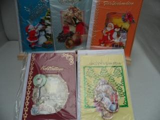 5+1 Kartenset.  5 Weihnachtskarten mit schönen unterschiedlichen 3D Motiven. Das gesamte Set kostet nur 10.00€  . Bis 6 Karten Portogebühren 1,45