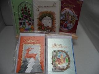 5+1 Kartenset.  5 Weihnachtskarten mit schönen unterschiedlichen 3D Motiven. Das gesamte Set kostet nur 10.00€ und eine kostenlose Karte lege ich noch dazu. Bis 6 Karten Portogebüh