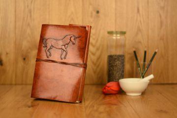 Handgefertigtes Leder Notizbuch Einhorn - Unicorn