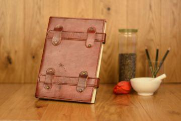 Handgefertigtes Leder Notizbuch Doppelschieber