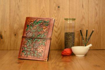 Handgefertigtes Leder Notizbuch Tagebuch Skizzenbuch Flowers