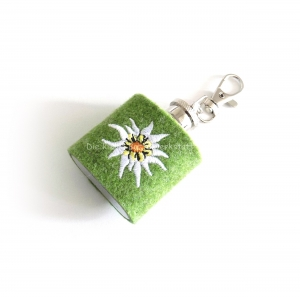 Mini Flachmann mit Edelweiss, Flachmann Hülle olivgrün
