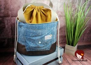 Shopper Handarbeit Projekt Tasche Groß mit Kordelzug Baumwolle Canvas Kunstleder Pastel Petrol Blau Senfgelb Fischgräten - Handarbeit kaufen