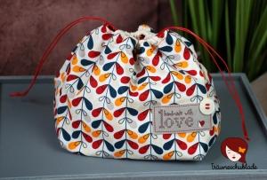 Kleiner Handarbeit Projekt Kosmetik Kleinkram Beutel Kulturbeutel Geschenk japanischer Beutel mit Kordelzug aus Baumwolle bunt rot