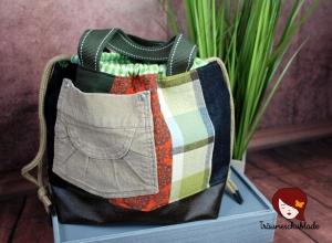 Handarbeit Projekt Tasche Bunt mit Kordelzug Patchwork Upcycling grün, terrakotta, schwarz, braun - Handarbeit kaufen