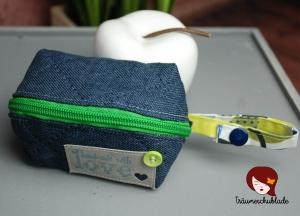 Kleines Etui, mit Reißverschluss, blau, weiss, grün - Handarbeit kaufen