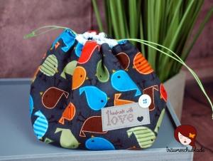 Kleiner Handarbeit Projekt Kosmetik Kleinkram Beutel Kulturbeutel Geschenk japanischer Beutel mit Kordelzug aus Babycord und Baumwolle dunkelgrau, bunt creme, Vögelchen - Handarbeit kaufen