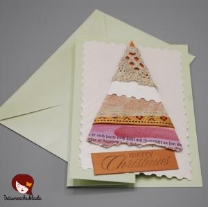 3D selbstgebastelte Weihnachtskarte mit Briefumschlag, gefalzt, Tannenbaum Motiv, verschiedene Materialien - Handarbeit kaufen