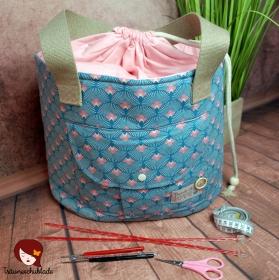 Shopper Handarbeit Projekt Tasche Groß mit Kordelzug Baumwolle Canvas Pastel Turkis Rosa Fächermuster - Handarbeit kaufen