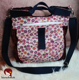 Tasche Yve Handtasche Schultertasche Umhängetasche Kleiner Shopper Schwarz Pink Creme Rosa Streifen Blümchen - Handarbeit kaufen