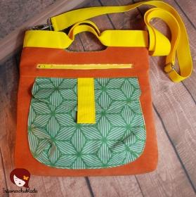Tasche Yve Handtasche Schultertasche Umhängetasche Kleiner Shopper Orange Gelb Grün - Handarbeit kaufen