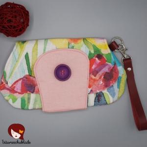 Clutch, Kleine Tasche, Kosmetiktäschchen, Cosmetic Bag mit abnehmbarer Handschlaufe, Aquarell, bunt, rosa, romantisch