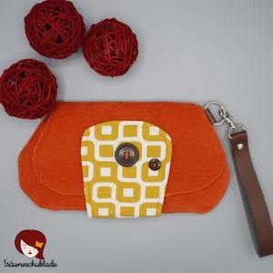 Clutch, Kleine Tasche, Kosmetiktäschchen, Cosmetic Bag mit abnehmbarer Handschlaufe, orange, senfgelb, weiss - Handarbeit kaufen