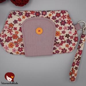 Clutch, Kleine Tasche, Kosmetiktäschchen, Cosmetic Bag mit abnehmbarer Handschlaufe, bunt, creme, pink, lila, Blüten