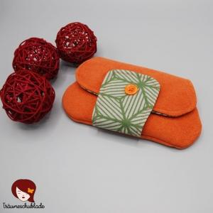 Kleiner Clutch, Kleine Tasche, Kosmetiktäschchen, Schminktasche, Cosmetic Bag, orange, grün - Handarbeit kaufen