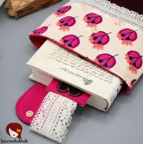 Set Büchertasche und Lesezeichen aus Stoff Weinrot Beige Pink Blümchen Buchschoner Buchhülle, Schutzhülle - Handarbeit kaufen