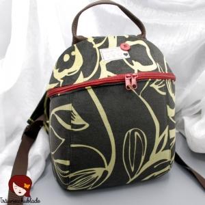 Kleiner kompakter Rucksack Loly Schwarz Olivgrün Verspielt aus Velourstoff und Baumwolle mit Reißverschluss - Handarbeit kaufen