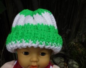 Gestreifte Mütze mit Neongrün für Kinder von ca 6-12 Monate